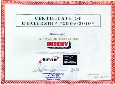 2009_certificate_dealership_ervin_usa